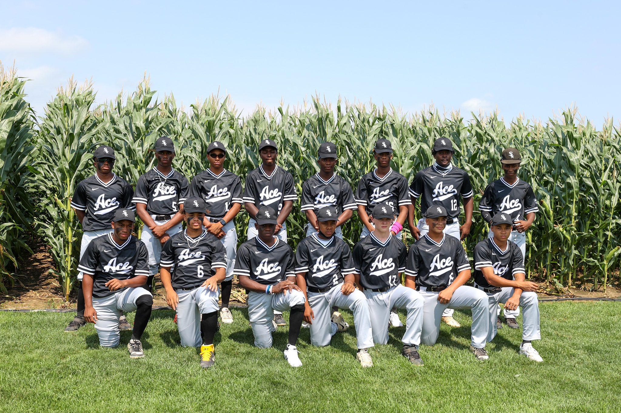 ACE U 14 Team in front of corn at Field of Dreams field in Iowa. Credit: MLB Photos